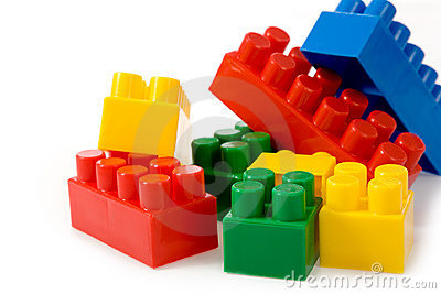 Colorfu l building blocks on white background