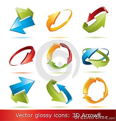 Colorful 3d  arrows set