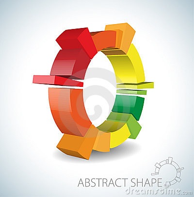 Colorful abstract 3D shape