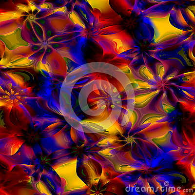 Free Colorful Abstract Art Background. Computer Generated Floral Fractal Pattern. Digital Design Illustration. Creative Colored Image. Royalty Free Stock Photography - 52651417