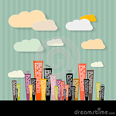 Colorful Abstract Buildings Illustration