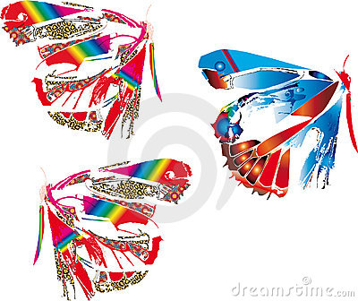 Colorful abstract butterflies