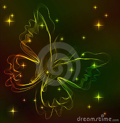 Colorful abstract butterfly over dark
