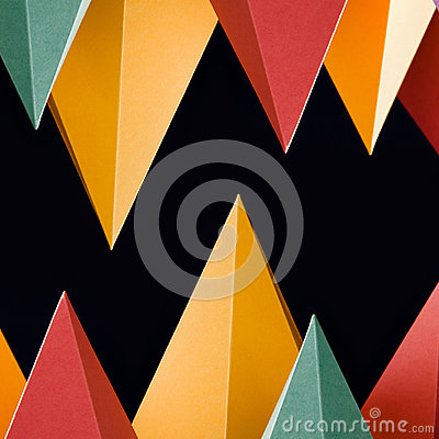 Free Colorful Abstract Geometric Shapes On Black Background. Three-dimensional Pyramid Triangular. Yellow Blue Pink Malachite Royalty Free Stock Photo - 96864195