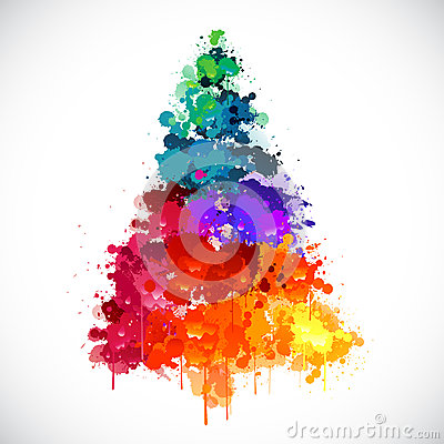 Free Colorful Abstract Paint Spash Christmas Tree Stock Photo - 34304360