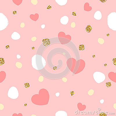 Free Colorful Abstract Seamless Pattern With Hearts And Golden Glitter Texture. Royalty Free Stock Photography - 83807527