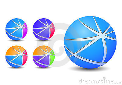Colorful abstract striped sphere balls icons