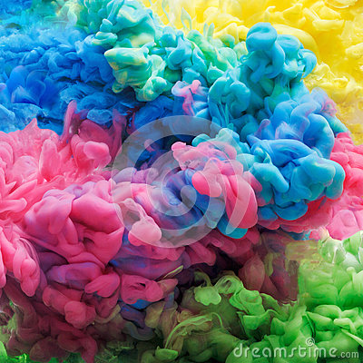 Colorful acrylic ink in water isolated. Abstract background. Color explosion Stock Photo