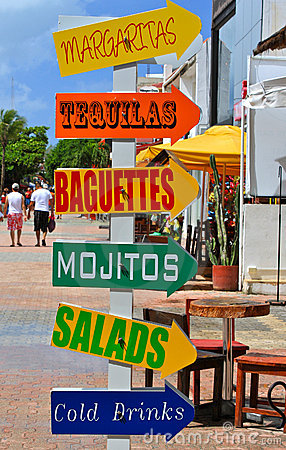 Colorful Advertising Signposts, Playa del Carmen