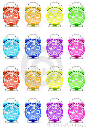 Colorful alarm clocks