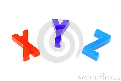 Colorful alphabet x y z