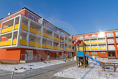 Colorful apartments at winter time