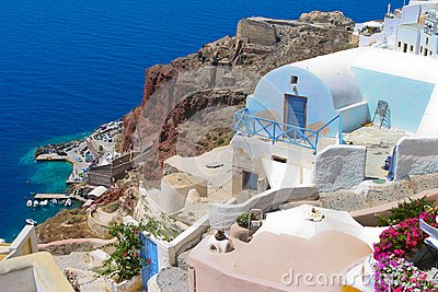 Colorful architecture in Santorini with Aegean sea