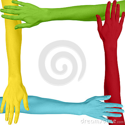 Colorful Arms Connected As a Square Stock Photo