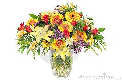 Colorful arrangement of lush spring flowers
