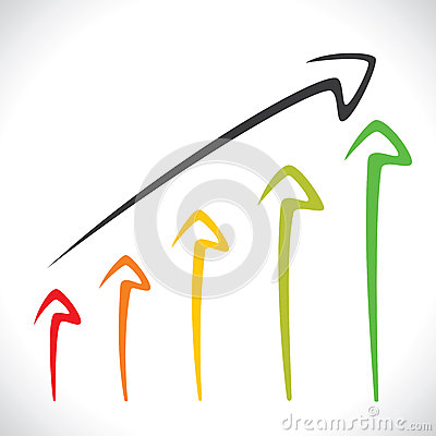 Colorful arrow market graph background