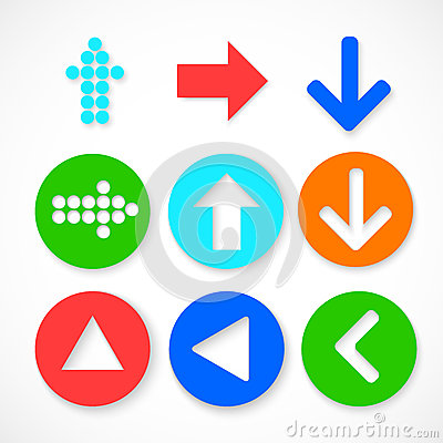 Colorful arrow sign icon set.