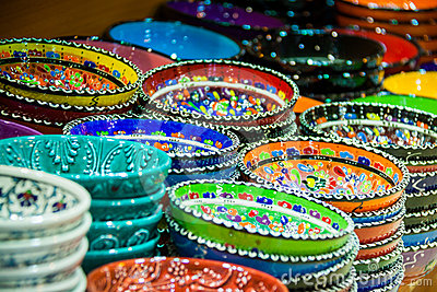 Colorful artisan plates and bowls