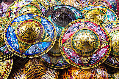 Colorful Asian conical hats.