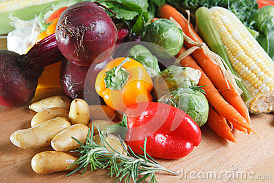 Colorful assortment of fresh raw vegetables