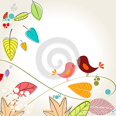Colorful autumn leaves and birds illustration