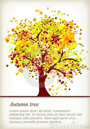Colorful autumn tree with space for your text
