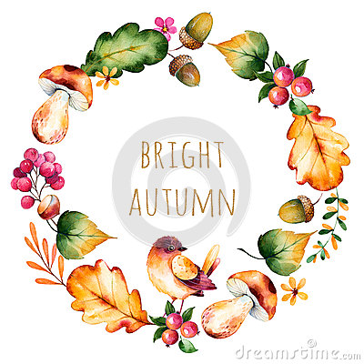 Free Colorful Autumn Wreath With Autumn Leaves,flowers,branch,berries Stock Photography - 71473332
