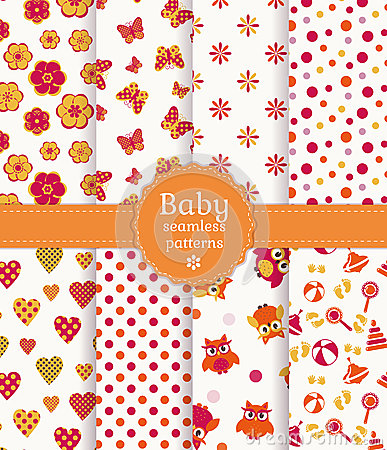 Free Colorful Baby Seamless Patterns. Vector Set. Stock Images - 38173674