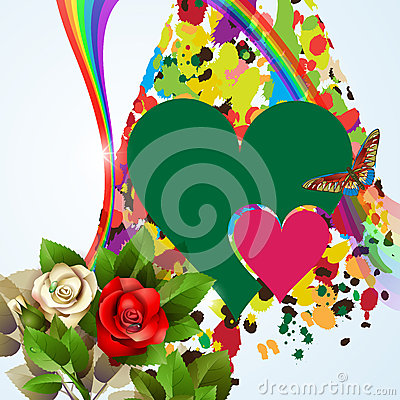 Colorful background with hearts and roses