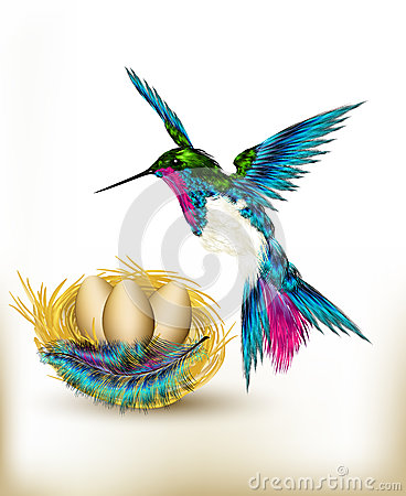 Free Colorful Background With Realistic Hummingbird And Nest Full Of Royalty Free Stock Photo - 28549795