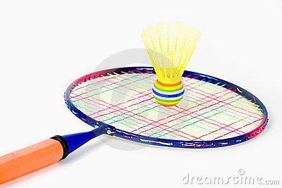 Colorful Badminton Racket and Shuttlecock