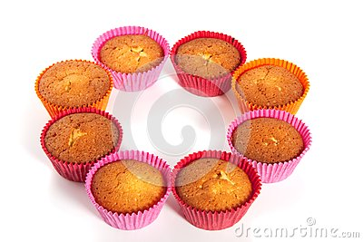 Colorful baked cupcakes
