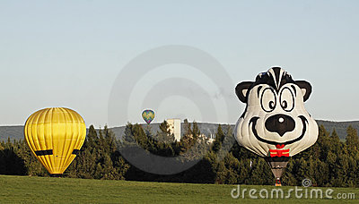 Colorful balloon landing Editorial Image