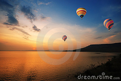Colorful balloon during sunset