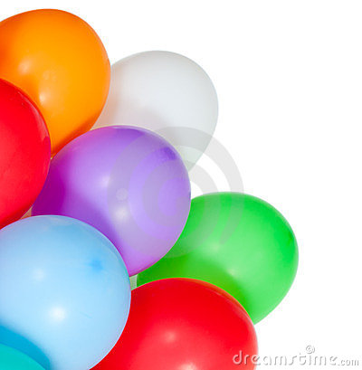 Colorful balloons in the corner on white