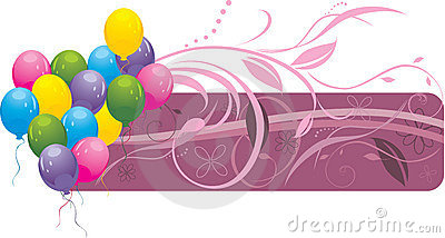 Colorful balloons with floral ornament. Banner