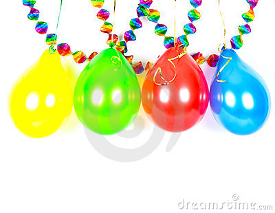 Colorful balloons and garlands. Party decoration