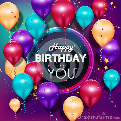 Colorful balloons Happy Birthday on purple background Vector Illustration