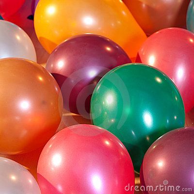 Colorful balloons at a party