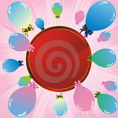Colorful balloons and red label