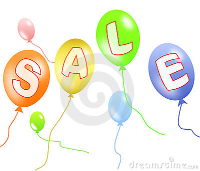 Colorful balloons sale with clipping path