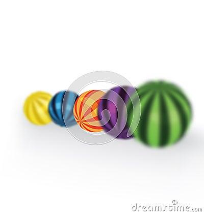 Colorful balls focus