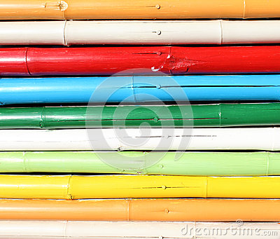 Colorful bamboo wall