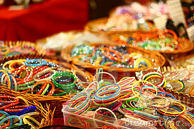 Colorful Bangles from India on Retail Market