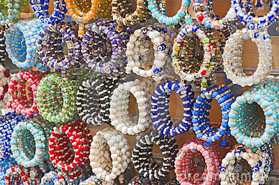 Colorful bangles at a market stall