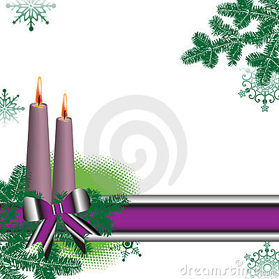 Colorful banner and candles