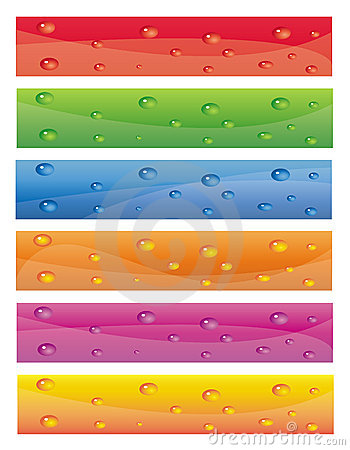 Colorful banner set with water drops on them