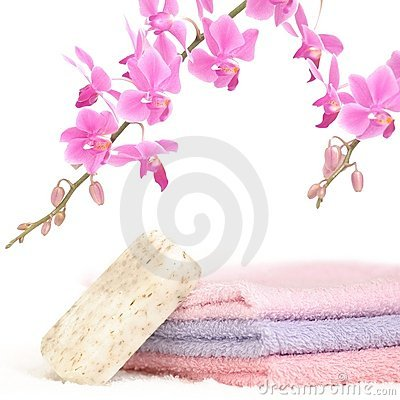 Colorful bathroom set with natural soap