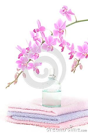 Colorful bathroom set with perfume bottle