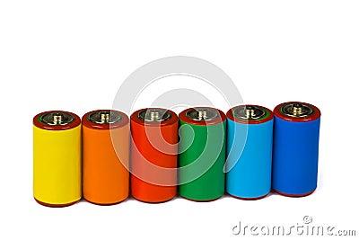 Colorful batteries - renewable energy concept